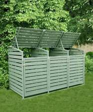 More details for triple wooden wheelie bin store storage sage green garden cover recycling out...