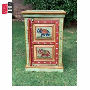 Wooden Carved Painted Cabinet Wooden Hand Painted (MADE TO ORDER)