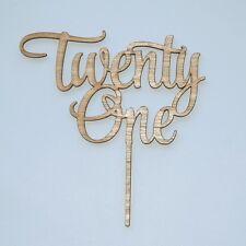 Twenty one Cake Topper Happy 21st Birthday, anniversary Wooden Rustic Cake Decor