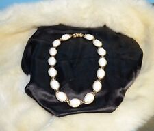 Vintage Crown Trifari Necklace Chocker Thermoset  White Acrylic