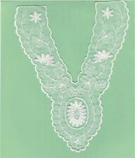 "9"" White Flower Bridal V neckline Collar Trim Embroidery Applique Patch"