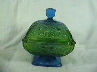 Vintage Crystal Jeanette Lidded Candy Dish, Two Tone Blue/Green