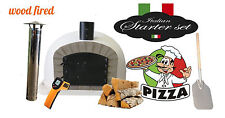 Wood fired Pizza oven 70cm white Deluxe extra grey-brick/black-door (package)