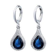 925 Silver Natural Blue Sapphire Ear Stud Hoop Drop Earrings Wedding Jewelry