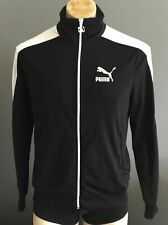 2dc1536da2d5 PUMA Mens Black Zip Front Tracksuit Jacket with White Trim Size S