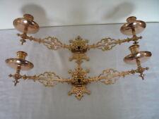 COPPIA VINTAGE IN OTTONE DOPPIA Candeliere Candelabro da Parete titolare Pianoforte TWIN Swing Arm