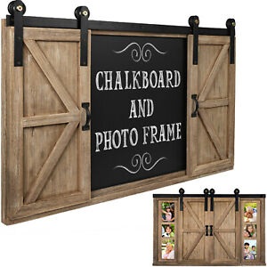 Rustic Wood Chalkboard with Four 4x6 Hideaway Photos & Barndoor Dcor