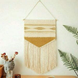 Vintage Macrame Woven Tapestry Wall Hanging Chic Bohemian Geometric Home Decor