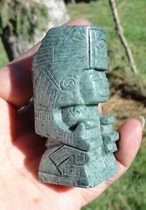 Carved Mayan God Stature Totem  Guatemala Guatemalan Blue Jadeite Jade