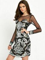 Maya Black Silver Embellished Mesh Mini Party Prom Cocktail Dress 10 38 US 6 New