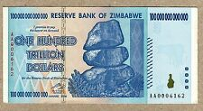 Zimbabwe 100 Trillion Dollar EXTREMELY LOW Serial AA000...VF Money Inflation