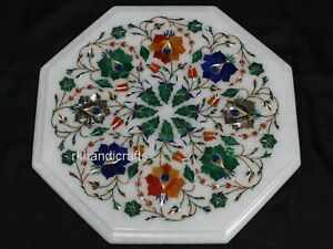 13 Inches Marble Coffee Table Top Inlay with Multi Gemstones Sofa Side Table Top