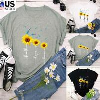 Women Summer Short Sleeve T Shirt Crew Neck Casual Blouse Floral Print Slim Tops