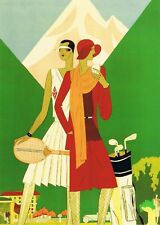 ART DECO PRINT . Two sporting ladies. Tennis and golf players. A 4 Photo print.