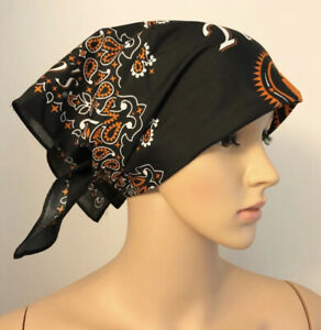 Tito's Handmade Vodka Bandana Scarf Handkerchief 21x21 Black Orange Paisley