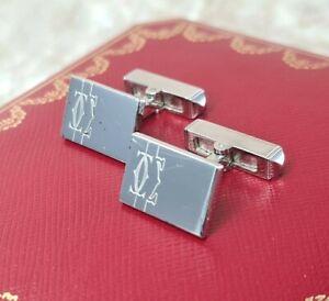 Authentic Cartier Cufflinks 2C Decor 925 Sterling Silver T1220520 w/ Case