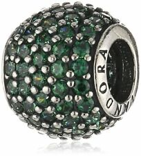 *Pair of Pandora Sterling Silver Dark Green Pave Lights Charms #791051CZN
