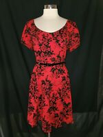 CITY CHIC Plus Size 20W L Dress Red Black Flocked Flowers Short Sleeve Belt