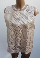 Ladies ZARA Collection Gold Crochet Guipure Top Lace Blouse Woman Size L  12/14