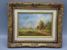 Dennis Lewan Holland Village Landscape Oil Painting on Masonite  Listed Artist