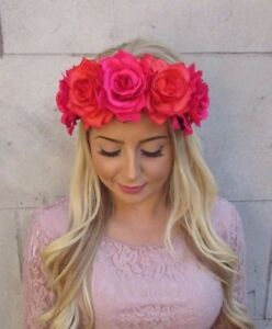 Large Hot Pink Orange Rose Flower Garland Headband Hair Crown Sugar Skull 4024
