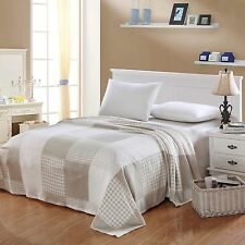 Supremely Soft Camesa MicroFleece Jacquard Blanket-Beige/White Squares-King-NEW