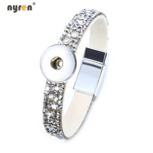 Multi Rhinestone Snap Charms Bracelet Fit 18mm Snap Button Snap Jewelry 0764