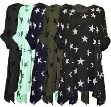 New Ladies Womens Lagenlook Stars Print Tunic Top Spring Top Dress Plus size