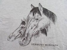 Vintage '91 Vermont Morgans Horse Lover Gray T Shirt Size Xl