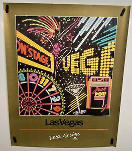 Original vintage travel Poster Delta Airlines Las Vegas