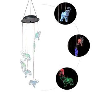 Solar Wind Chimes Elephant Design Wind Bell Pendant LED Light Garden Lamp