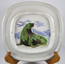 """Eddy K Kourishima Sea Lion Seal Large Ashtray Signed Vintage 8.5"""" x 8.5"""" Htf"""