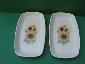 PAIR OF BEAUTIFUL CERAMIC SUNFLOWER  CANDY, SERVING DISHES MADE  IN  USA