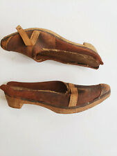 Antique Wooden Leather Work Shoes Handmade French Provincial Peasant Footwear