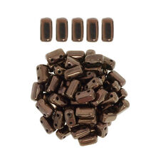 50 CzechMates Bricks Dark Bronze Two Hole Beads 3x6mm