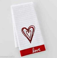 Love Red Heart White Embroidered Kitchen Hand Towel Decor