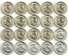 1 Roll_Franklin Silver Half Dollar Coins_BU/UNC_(14) 1954-S_(6) 1956-P__#955LD12