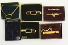 Vintage Costume Mens Jewelry Gold Tone Swordfish & Sterling Lot Tie Clasps