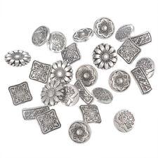 b2896115c54 50pcs Shanked Engraved Antique Jeans Buttons Flower Pattern Metal