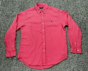 Polo Ralph Lauren Mens Shirt L Large Linen Long Sleeve Beach Flow Salmon Button