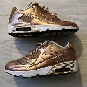 Girls Nike Air Max 90 LE Metallic Bronze Size 4, Very Clean