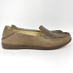 Olukai Kiele Women's Size 9 Leather Slip-on Brown Comfort Loafers Mocs