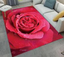 Custom Fashion Home Decorator Red Rose Blossom Area Rug Modern Floor Rug Carpet