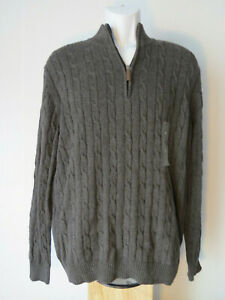 Men's LARGE CLUB ROOM GRAY ZIP SWEATER pima cotton L grey pullover cable