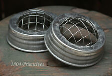 "2 Galvanized 3"" FROG Lids ~ Fits Regular Mason Jars ~ Flower or Pencil Holder"