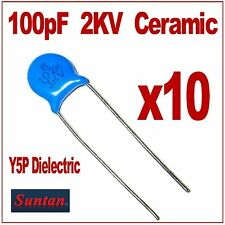 High Voltage Ceramic Disc Capacitors  Y5P Dielectric   100pF  2KV  Pack of 10