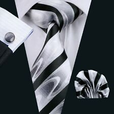 Classic White Mens Necktie Black Stripe Silk Ties Set Jacquard Woven Tie C-1081