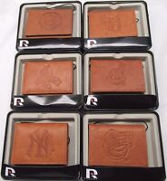 MLB Embossed Trifold Leather Wallet With Gift Box -Select- Team Below