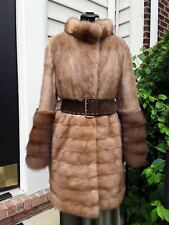 Gorgeous Stylish Pastel Mink Fur Coat/Jacket  w Huge Russian Sable Cuffs S/M