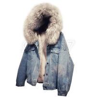Denim Damen Mantel Lammwolle Winterjacke Jeansjacke mit Kapuze Mantel XS-2XL Top